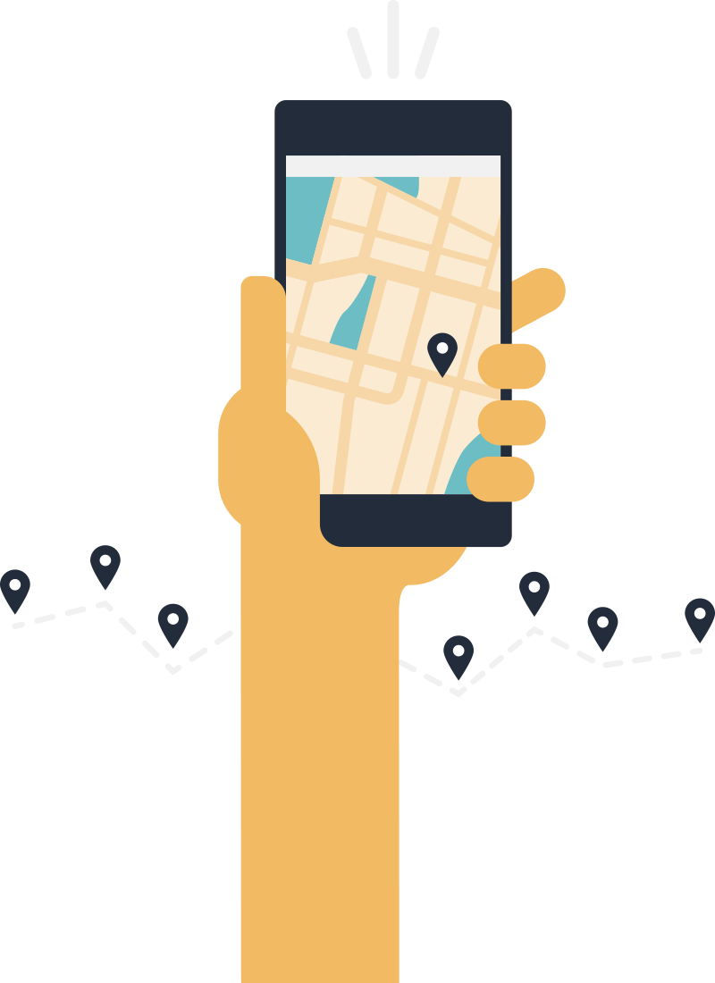 Hand holding a mobile device showing a map.